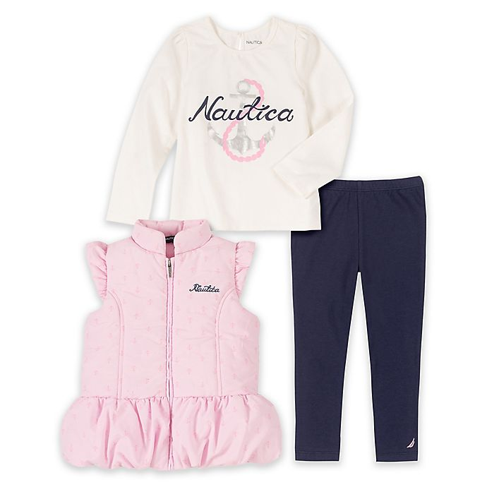Alternate image 1 for Nautica® 3-Piece Quilted Vest, Top and Legging Set