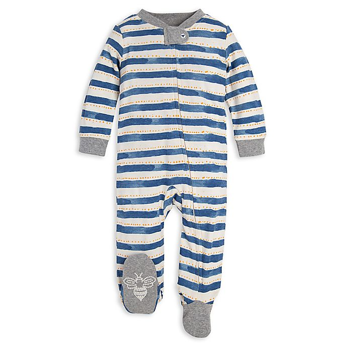Alternate image 1 for Burt's Bees Baby® Painted Stripe Organic Cotton Sleep and Play in Blue
