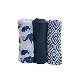 Little Unicorn 3-Pack Indie Elephant Swaddle Blankets in Blue/White