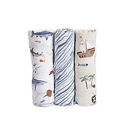 Little Unicorn Shark Muslin Swaddle Blankets (Set of 3)