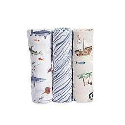 Little Unicorn Shark Muslin Swaddle Blankets (Set of 3)