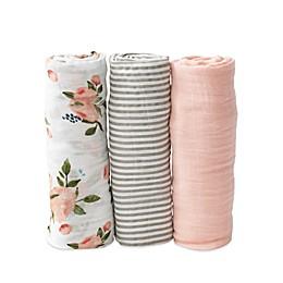 Little Unicorn Watercolor Roses Muslin Swaddle Blankets (Set of 3)