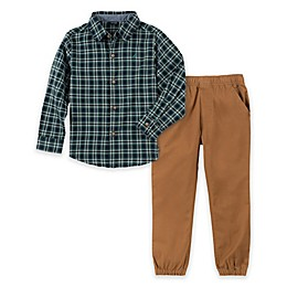 Nautica® 2-Piece Woven Plaid Shirt and Pant Set in Green/Khaki