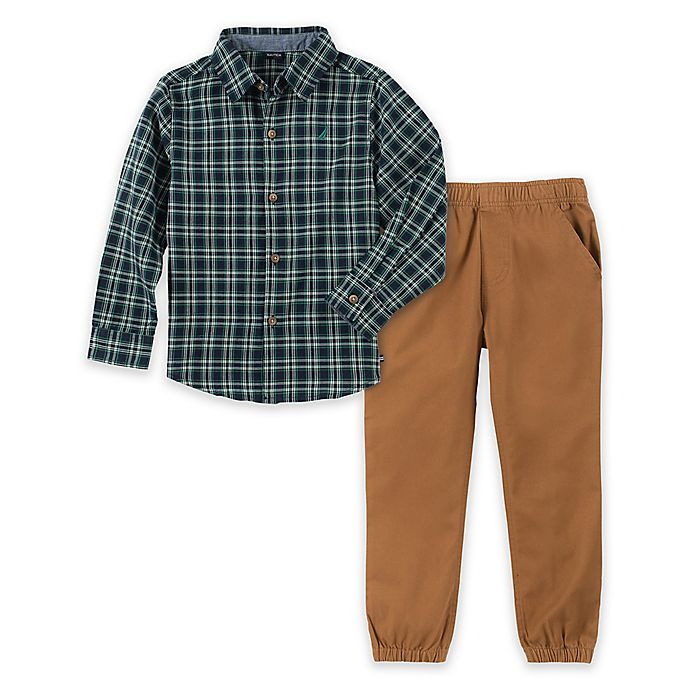 Alternate image 1 for Nautica® 2-Piece Woven Plaid Shirt and Pant Set in Green/Khaki
