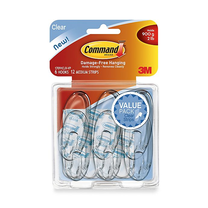 Alternate image 1 for 3M Command™ Removable Medium Clear Wall Hooks (6-Pack)