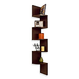 Walnut Grain Finish 5 Level ZigZag Corner Wall Mount Shelf