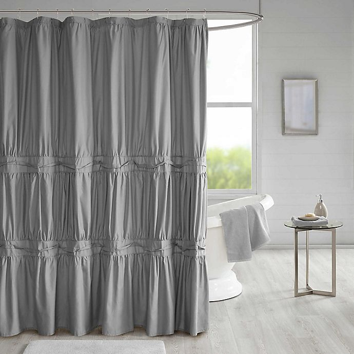 Alternate image 1 for 510 Design Ciera Solid Ruched Shower Curtain