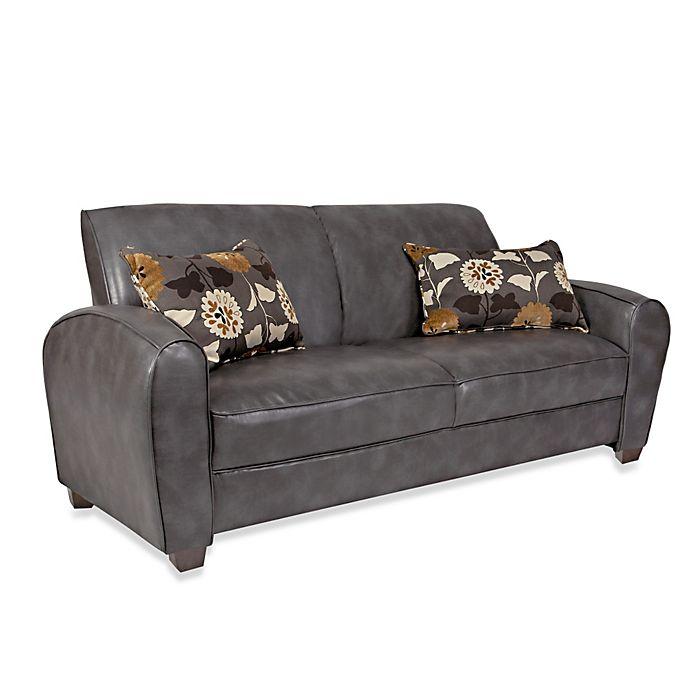 Angelo Home Gordon Renu Leather Sofa In Charcoal Gray