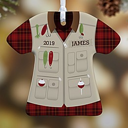 1-Sided Fishing Vest Personalized T-Shirt Ornament