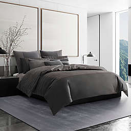 Vera Wang® Shadow Stripe Duvet Cover in Charcoal