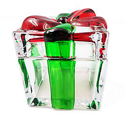 Table Art 4.75-Inch Glass Present Trinket Box in Red/Green