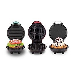 Dash® Mini Maker 3-Piece Griddle, Waffle, and Grill Set in Aqua/Fed/White