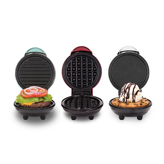 Alternate image 1 for Dash® Mini Maker 3-Piece Griddle, Waffle, and Grill Set in Aqua/Red/White