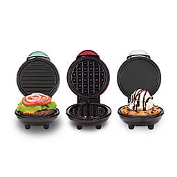 Dash® Mini Maker 3-Piece Griddle, Waffle, and Grill Set in Aqua/Red/White