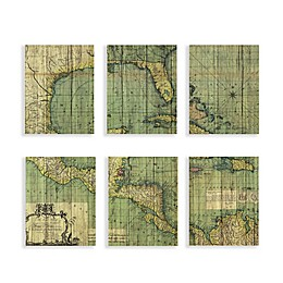 Martha Stewart Atlas Plywood Veneer Box 11-Inch x 14-Inch Wall Art (Set of 6)