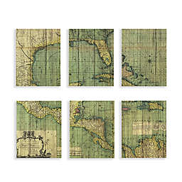Martha Stewart Atlas Plywood Veneer Box 11-Inch x 14-Inch Wall Art (Set of 6)