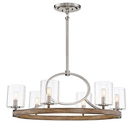 Minka Lavery® Country Estates 6-Light Chandelier in Wood/Brushed Nickel