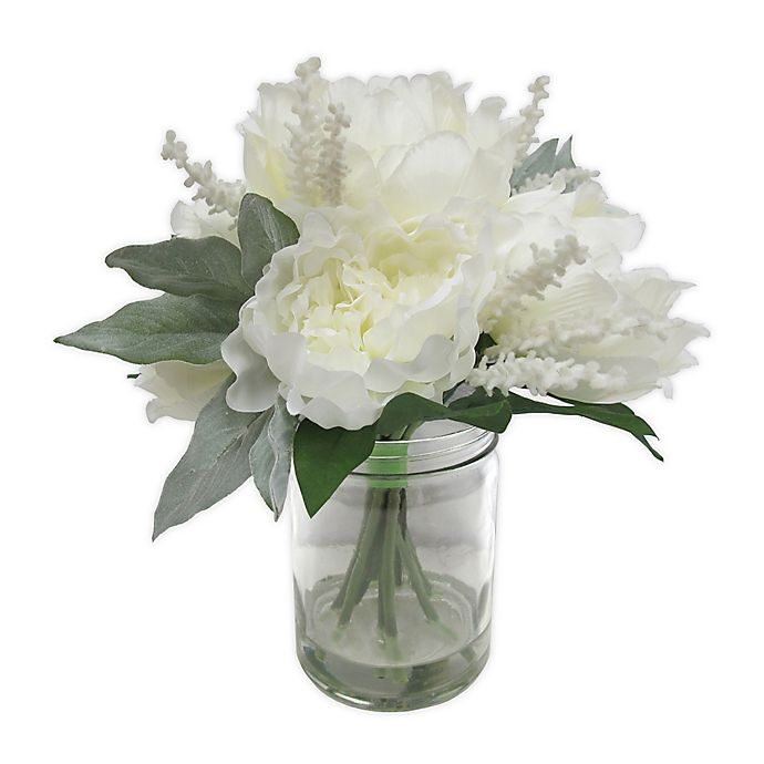 Alternate image 1 for Bee & Willow™ Home White Peony and Lavender Floral Arrangement in a Clear Vase