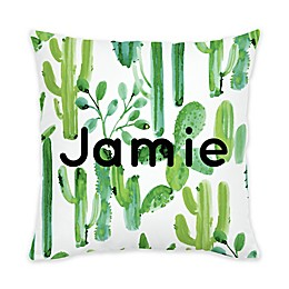 Carousel Designs® Painted Cactus Square Throw Pillow in Green