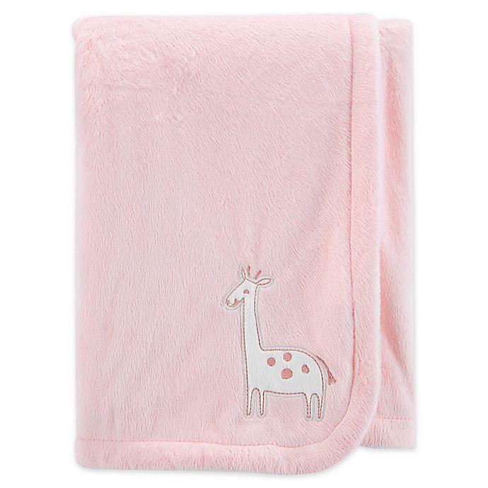 Alternate image 1 for carter's® Embroidered Giraffe Velboa Plush Blanket in Pink