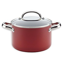 Farberware® Buena Cocina™ Nonstick 4-Qt. Aluminum Soup Pot with Lid in Red