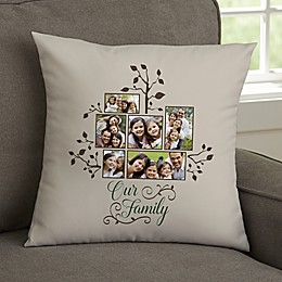 Photo Family Tree Personalized Throw Pillow