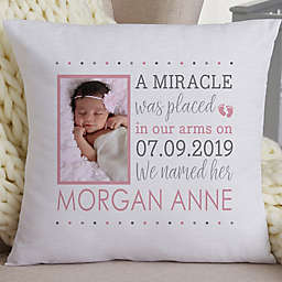 Baby Girl's Story 18-Inch Photo Keepsake Pillow in Pink/White