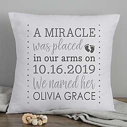 Baby Girl's Story 18-Inch Photo Keepsake Pillow in Grey/White