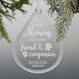 Pet Memorial Teardrop Engraved Glass Ornament