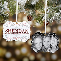Personalized Family Swirl Photo 2-Sided Ornament