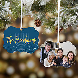 Personalized Hanukkah Wishes 2-Sided Photo Ornament