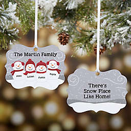 Snowman Family Personalized Metal Ornament