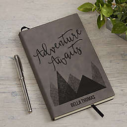 Adventure Awaits Personalized Writing Journal in Charcoal