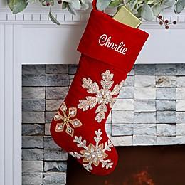 Holiday Glam Embroidered Red Velvet Christmas Stocking