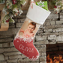 Snowflake Personalized Christmas Photo Stocking in Ivory