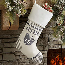 Nordic Noel Personalized Ivory Christmas Stocking