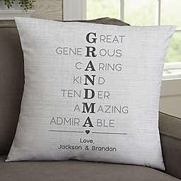 Grandma Acronym Personalized Throw Pillow