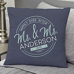Stamped Elegance Wedding Personalized Throw Pillow