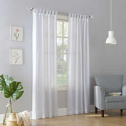 No.918® Jacob Heathered Texture 95-Inch Semi-Sheer Tab Top Curtain Panel in White (Single)