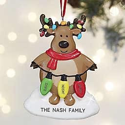 Christmas Lights Reindeer 3-Names Personalized Christmas Ornament