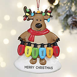 Christmas Lights Reindeer 6-Names Personalized Christmas Ornament