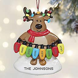 Christmas Lights Reindeer 8-Names Personalized Christmas Ornament