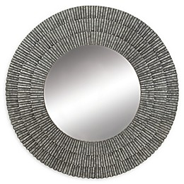 Ridge Road Décor Modern Reflections 37-Inch Round Wall Mirror in Grey