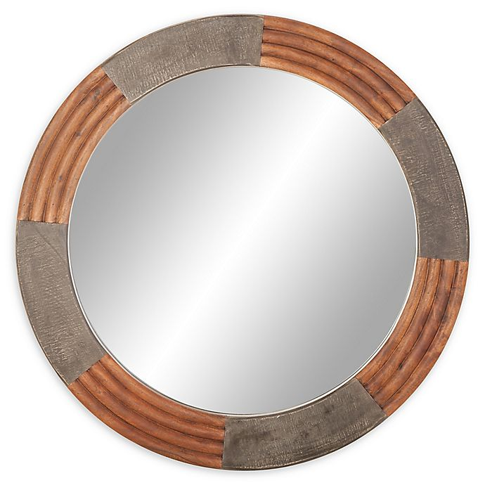 Ridge Road Decor 36 Inch Ribbed Round Wall Mirror In Grey Brown Bed Bath Beyond