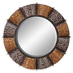 Ridge Road Decor 32-Inch Round Iron Scrollwork Wall Mirror
