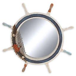 Ridge Road Decor 24-Inch Round Ship Wheel Wall Mirror