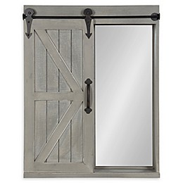 Kate and Laurel™ Cates Wall Cabinet Mirror with Barn Door in Grey