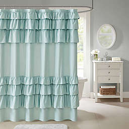 Madison Park Grace Ruffled Shower Curtain in Grey