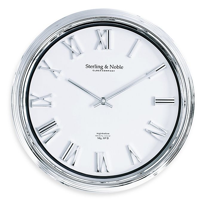 Chrome Finish Raised Number 14 Inch Wall Clock Bed Bath