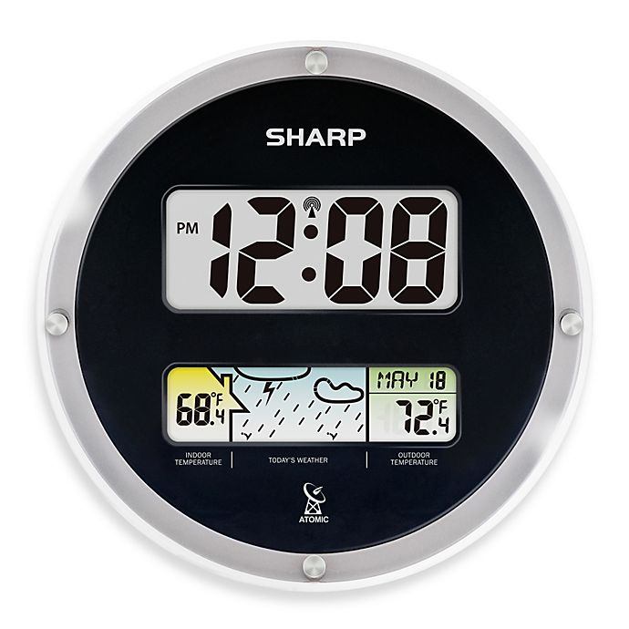 Sharp® Atomic Digital Wall Clock with Weather Display ...